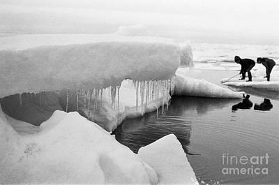 Photograph - Eskimo Boys Ice Fishing Barrow Alaska  July 1969 by California Views Archives Mr Pat Hathaway Archives