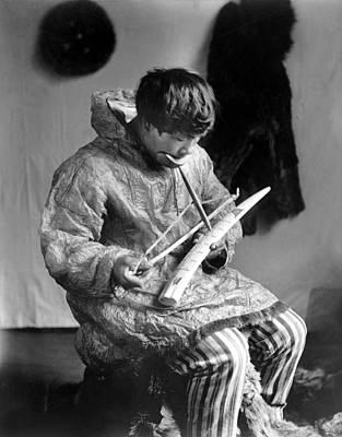 Ivory Carving Photograph - Eskimo Ivory Carver, C1912 by Granger