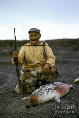 Photograph - Eskimo Seal Hunter Barrow Alaska July 1969 Pat Hathaway Photo by California Views Archives Mr Pat Hathaway Archives
