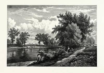 Esopus Creek, Near Kingston, New York Print by Kruseman Van Elten, American School