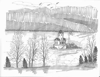 Hudson River Drawing - Esopus Lighthouse by Richard Wambach