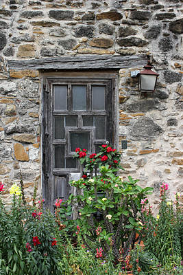 Photograph - Espada Doorway With Flowers by Mary Bedy