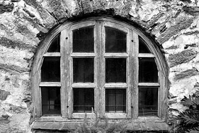 Photograph - Espada Window Bw by Mary Bedy