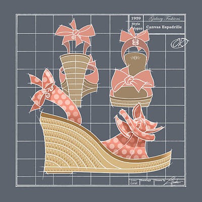 Drawing - Espadrille - Coral Dot by Larry Hunter