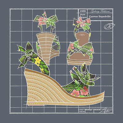 Drawing - Espadrille - Tropicale by Larry Hunter