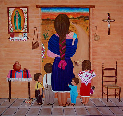 Art Print featuring the painting Esperando A Papa by Evangelina Portillo