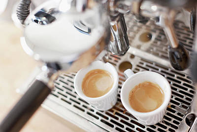 Photograph - Espresso Machine Pouring Cups Of Coffee by Cultura Rm Exclusive/nils Hendrik Mueller