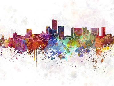 Essen Skyline In Watercolor Background Art Print