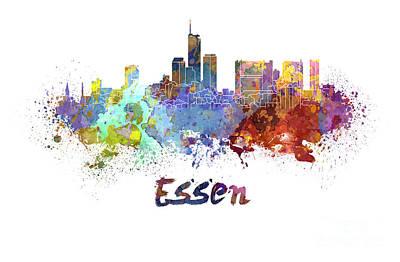 Essen Skyline In Watercolor Art Print