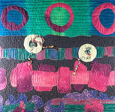 Abstract Wall Art - Tapestry - Textile - Essential Circles by MtnWoman Silver