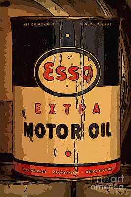 Esso Motor Oil Can Art Print by Carrie Cranwill