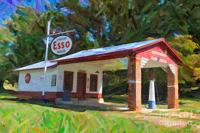 Digital Art - Esso Station by Dale Powell