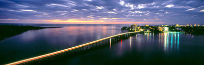 Florida Bridge Photograph - Estero Boulevard At Night, Fort Myers by Panoramic Images