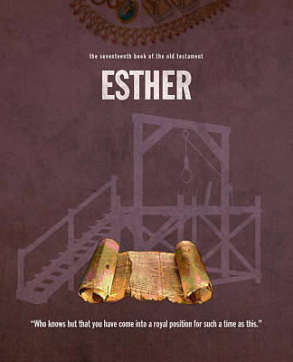 Esther Books Of The Bible Series Old Testament Minimal Poster Art Number 17 Art Print by Design Turnpike