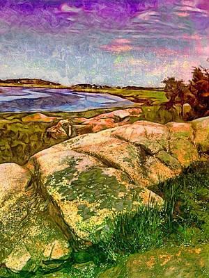 Salt Flats Painting - Estuary On Cape Ann - Vertical by Lyn Voytershark