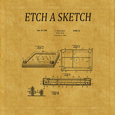 Etch A Sketch Patent 1 Art Print by Andrew Fare