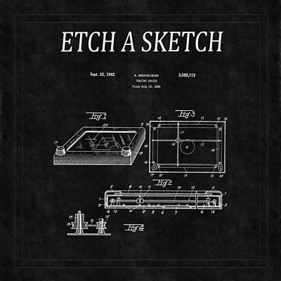 Etch A Sketch Patent 2 Art Print by Andrew Fare
