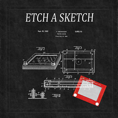 Etch A Sketch Patent 3 Art Print by Andrew Fare