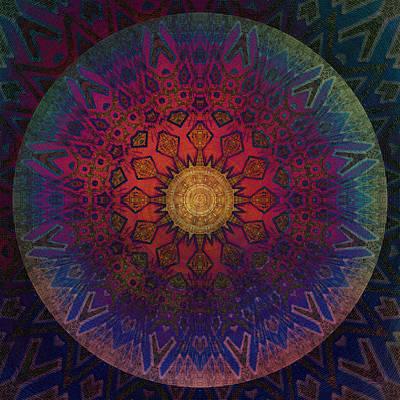 Meditative Digital Art - Eternal Sun Glyph Mandala by Miabella Mojica