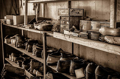 Shoe Repair Photograph - Eternally Waiting Bw by David Morefield