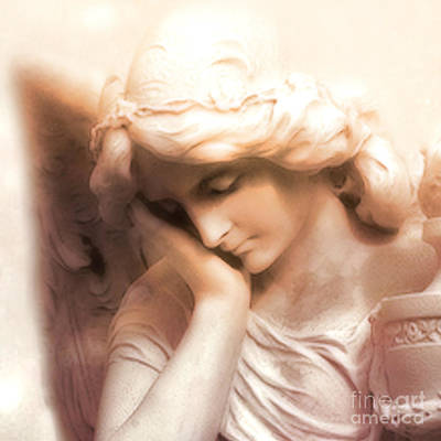 Statue Portrait Photograph - Ethereal Angel Art - Dreamy Surreal Peaceful Comforting Angel Art by Kathy Fornal