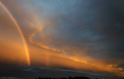 Ethereal Clouds And Rainbow Art Print by Greg Reed