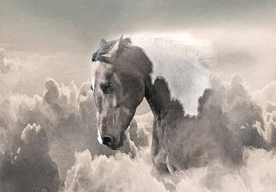 Ethereal Paint Horse Power Sepia Print by Renee Forth-Fukumoto