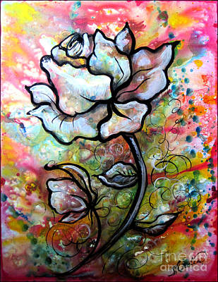 Surreal Painting - Ethereal Rose by Shadia Derbyshire