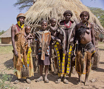 Painting - Ethiopia-south Tribal Together Family by Robert SORENSEN