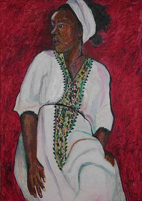 Metal Sheet Painting - Ethiopian Woman In Red by Esther Newman-Cohen