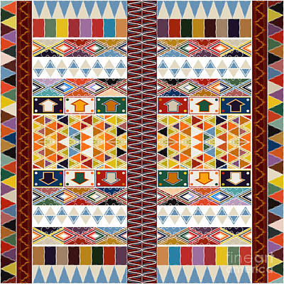 Tapestries - Textiles Digital Art - Ethnic Carpet Design by Richard Laschon