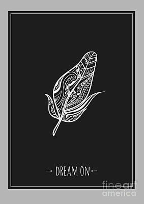 Creativity Wall Art - Digital Art - Ethnic Design Poster With Feather by Wondervendy
