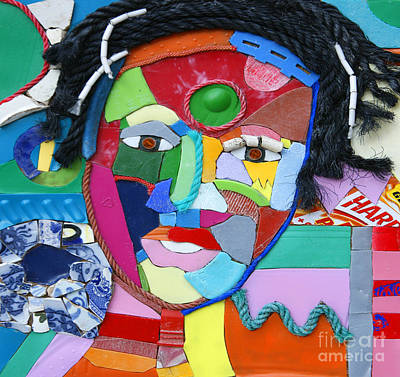 Mosaic Mixed Media - Ethnic Woman by Nicola Scott-Taylor