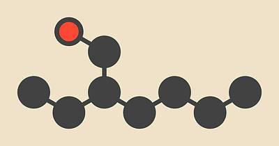 Ethylhexanol Molecule Print by Molekuul