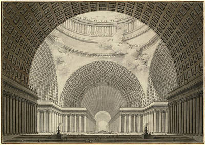 Wash Drawing - Etienne-louis Boullée, Perspective View Of The Interior by Litz Collection