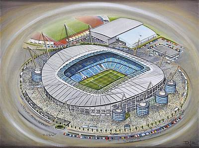 Sports Paintings - Etihad Stadium - Manchester City by D J Rogers