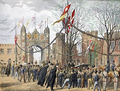 Royal Wedding Drawing - Eton Schools And The Boys Arch - Visit by Robert Charles Dudley