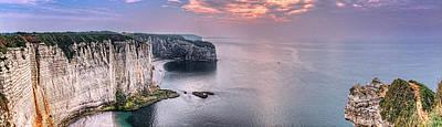 Photograph - Etretat Cliffs Sunset Panorama by Weston Westmoreland