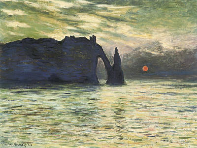 Etretat Sunset Art Print by Claude Monet