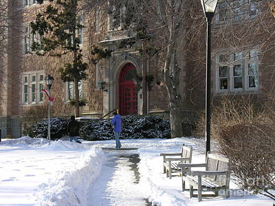 Photograph - Ettinger Red Door In Snow by Jacqueline M Lewis