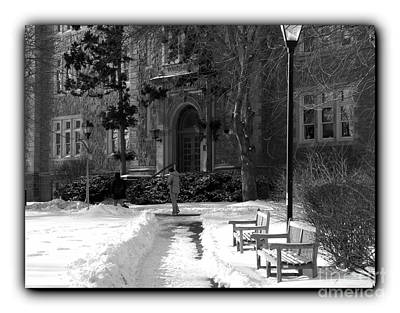 Photograph - Ettinger Snow Scene - Border Bw by Jacqueline M Lewis