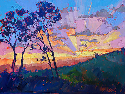 Los Angeles Landscape Painting - Eucalyptus Rays by Erin Hanson