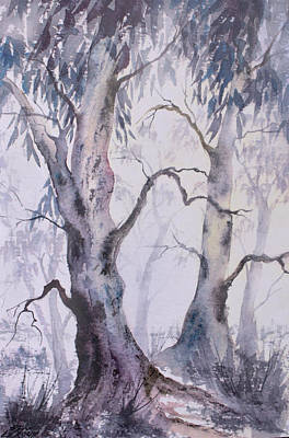 Painting - Eucalyptus Trees In The Mist by David Clode