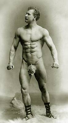 Moustache Photograph - Eugen Sandow In Classical Ancient Greco Roman Pose by American Photographer