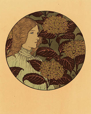 Eugene Grasset, Roundel Portrait Of A Girl Art Print