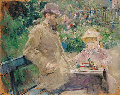 Impressionist Photograph - Eugene Manet 1833-92 With His Daughter At Bougival, C.1881 Oil On Canvas by Berthe Morisot