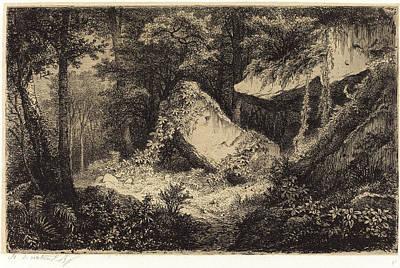 Eugène Bléry, French 1805-1887, Les Roches Blanches White Art Print