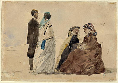 Two Ladies Drawing - Eugène Boudin, Two Ladies Seated And A Couple Walking by Quint Lox