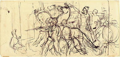 Eugène Delacroix, French 1798-1863, Charioteers Print by Litz Collection