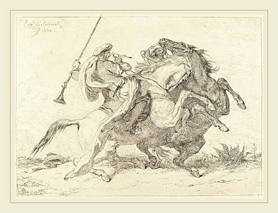 Cavaliers Drawing - Eugène Delacroix French, 1798-1863, Encounter by Litz Collection
